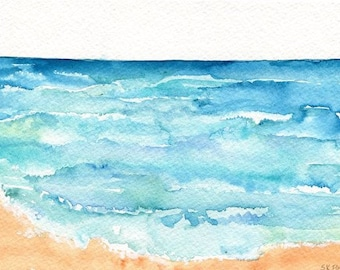 Aruba original watercolor painting, original ocean art, seascape, 5 x 7, beach decor, watercolors paintings original of Aruba