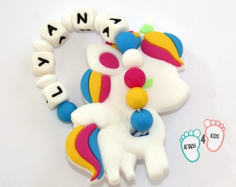 Baby teether personalized name - Unicorn Theme - 100% silicone