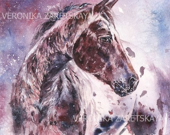 Appaloosa stallion - Winter horse - Appaloosa horse - Wild horse - Original watercolor painting - Gift for horselovers