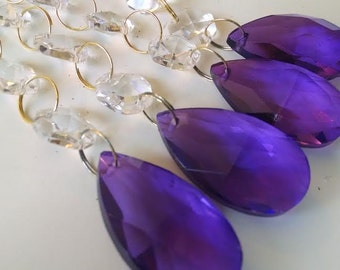 5 Violet Purple Teardrop Chandelier Crystal Ornaments with 6 Clear Beads