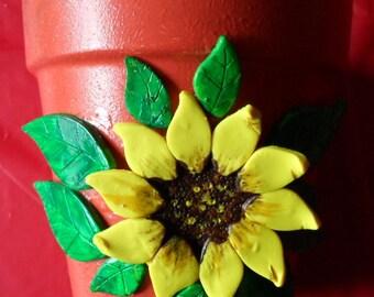 Sunflower Pot Clay Sunflower and Leaves Flower Pot Hand Painted Pot Clay Pots Clay Flower Pots Sunflowers Sunflower Planter