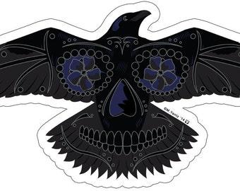 Raven Sugar Skull 4x2 Vinyl Sticker