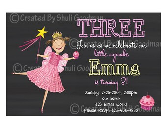 Pinkalicious birthday  Invitations - printable - DIY - digital file (P05)