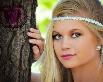 White Boho Headband - White Iridescent Sequin - Adult Boho Headband - Bohemian Headband - Forehead Headband - Hippie Headband - Boho Band