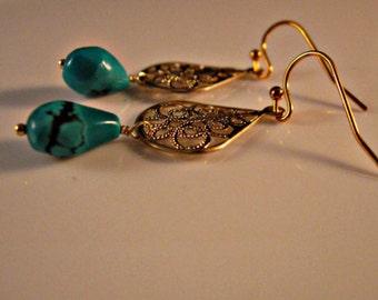 Turquoise earrings,drop earrings,dangle earrings,filigree earrings,gemstone earrings,gemstone jewelry,gold earrings,Turquoise jewelry