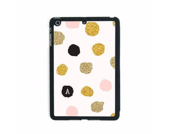 Pastel Pink & Gold Polka-dots / Personalised iPad Smart Case