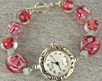Handmade Watch Swirls of Pink and Teal Lampwork Beads