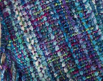 """Handwoven Hand-dyed Ribbon Scarf with long fringe - Blue Eyelash- 69""""x 4.5"""""""