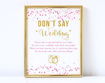 Bridal shower ring game bridal shower games ring game sign dont say wedding bridal shower game printable bridal shower games gold glitter filmwisefo Gallery