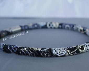 Original Crochet Bead Necklace Steampunk Beautiful Gift for Woman Jewelry Birthday Present