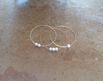 Pearl Bangle, Bridesmaid, Flower Girl, First Communion, Handmade Wedding Jewelry