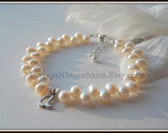 Zig Zag Freshwater Pearl Initial Bracelet B104