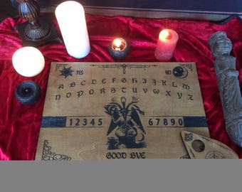 """Ouija """"Baphomet""""engraving on wood and painted by hand."""