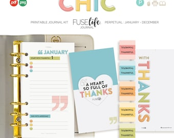 Personal Retro Faith Journal Kit : 95x172mm FUSElife Chic > inc Cover, Bookmark, Tabs + Tip Guide (jes0577)
