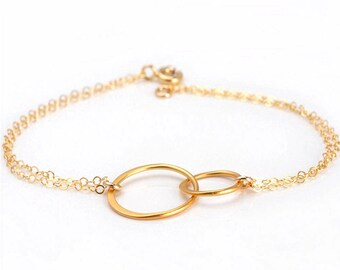 Gold Circle Bracelet, Circle Bracelet, Double Circle Bracelet, Interlocking Circle Bracelet, Friendship Bracelet, Gold Eternity Bracelet