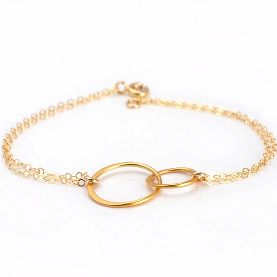 Gold Circle Bracelet, Circle Bracelet, Double Circle Bracelet, Interlocking Circle Bracelet, Friendship Bracelet, Gold Eternity Bracelet