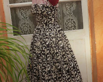 Vintage, retro, cotton look and lace dress