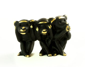 "Walter Bosse Three Wise Monkeys - Brass ""Black Gold"" Monkey Figurine - Hear No Evil, See No Evil, Speak No Evil — ""Affengruppe"""