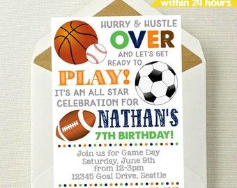 Sports Invitation / Sports Birthday Invitation / All Star Invite / Baseball Invitiation / Sports Party / Football / Soccer / Basketball