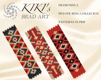 Pattern, peyote ring patterns Diamonds 2, rings - peyote ring pattern set of 3, patterns in PDF - instant download
