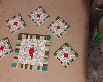 Multicolored mosaic coasters