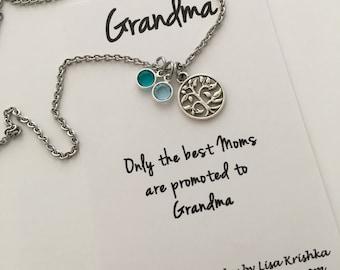 Family Tree and birthstone necklace, tree of life, swarovski birthstones