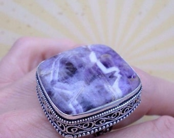 RING 925 sterling silver and Charoite (BA - 171 56)