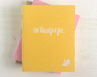 i'm thankful for pressed pocket journal with falling leaf | set of 3
