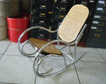 Vintage Mid Century Modern Childs Scrolled Chrome & Cane Rocking Chair