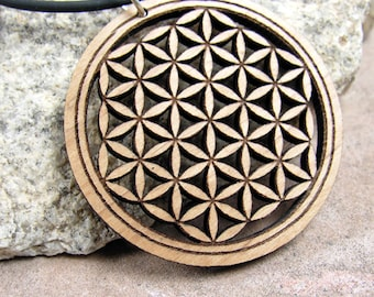 Laser Cut Sacred Geometry Wood Pendant of the Flower of Life – Ecofriendly Jewelry