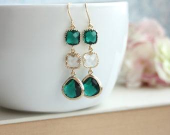 Emerald Green Earrings, Green Dangle Earrings, Clear Dark Green Earrings. Emerald Gold Framed Glass Dangle Earrings. Green Bridesmaid Gift,