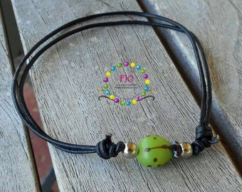 Dainty Anklet Green Lady Bird Ankle bracelet Adjustable black leather Anklet- Stackable Bracelet Teen Anklet Gifts idea under 10
