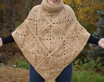 Tan Tweed Turtle Neck Diamond Back Poncho HANDCRAFTED Crochet ORIGINAL DESIGN His Or Hers