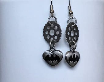 Steampunk Earrings, Steampunk Batman, Steampunk Jewelry, Gear Earrings, Gear Jewelry