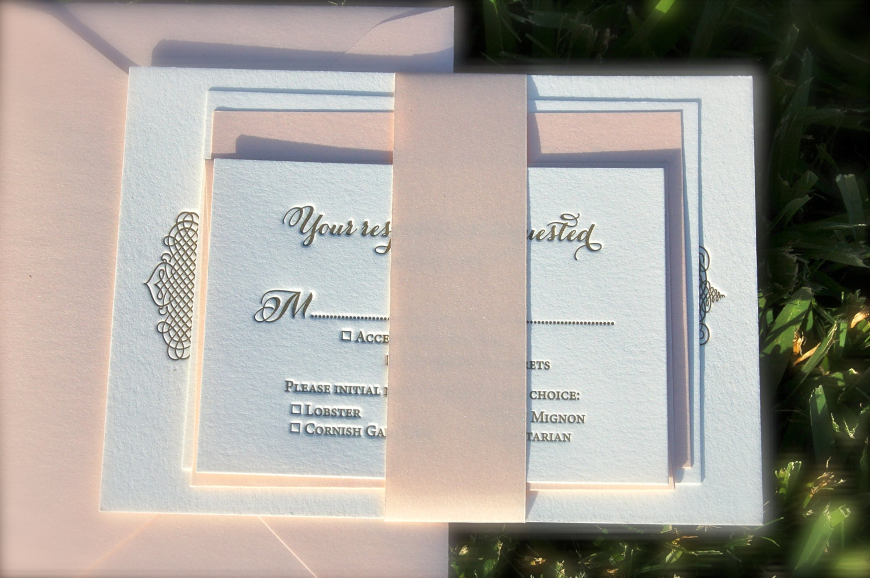 Letterpress Wedding Invitations Blush Pink and Taupe DEPOSIT
