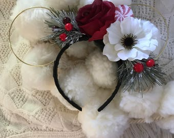 Sweet and Simple Peppermint Swirl Floral Wire Ears - Perfect for a Christmas Party with Minnie and Mickey! *Made to Order*