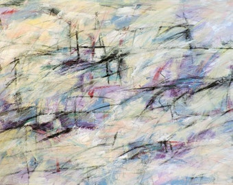 Purple Horizon 9-11-15 (4' x 2.5'  abstract expressionist painting on canvas, black, white, cream, gray, gold, purple. red, blue, silver)