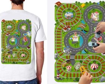 Train Play Mat T-Shirt, Father's gift, Train Map Shirt, Gift T shirt, T shirt For Dad.
