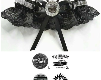 Supernatural /Sam and Dean Winchester Satin/Satin and Lace/Garter Set- Your choice of embellishment
