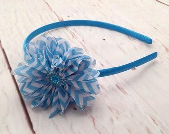 Turquoise Flower Headband, Turquoise & White Chevron Flower Headband, Aqua Flower Headband, Flower Girl Headband, Baby Girl Headband