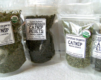 Catnip Sampler- 2 Kinds- Organic Loose and Compressed