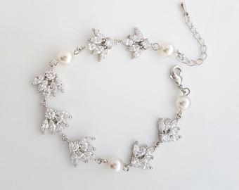 Crystal Bridal Bracelet, Wedding Jewelry, Cubic Zirconia, Pearl Bridal Bracelet, Crystal Wedding Bracelet, Rosa