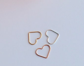 Open Heart Helix Earrings, Cartilage Rook Tragus Earring.