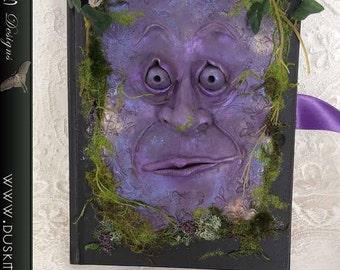 Goblin book guardian - journal cover, fairy, faerie, polymer clay, moss, dusk moth A5