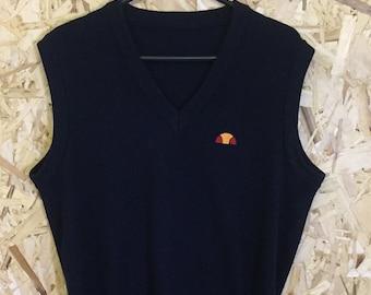 Ellesse vintage knitwear jumper sweater vest retro eighties 1980's sportswear tank top