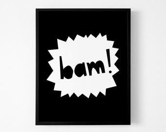 Bam Print, Superhero Wall Art, Superhero Prints, Kids Printable Wall Art, Nursery Wall Art, Printable Art
