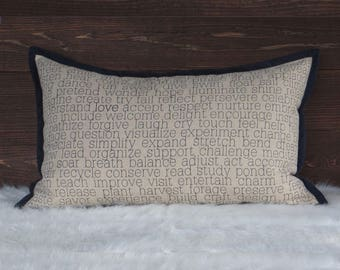 Words to Live By Pillow - Actions