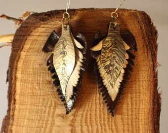 Leather Feather Earrings Avolare