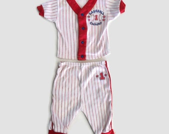Vintage 1980's Infant/Baby/Newborn Baseball Outfit