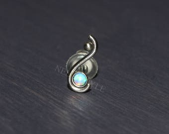 Surgical Steel Tragus Stud with Opal Gemstone - works for nose ring stud, forward helix earring